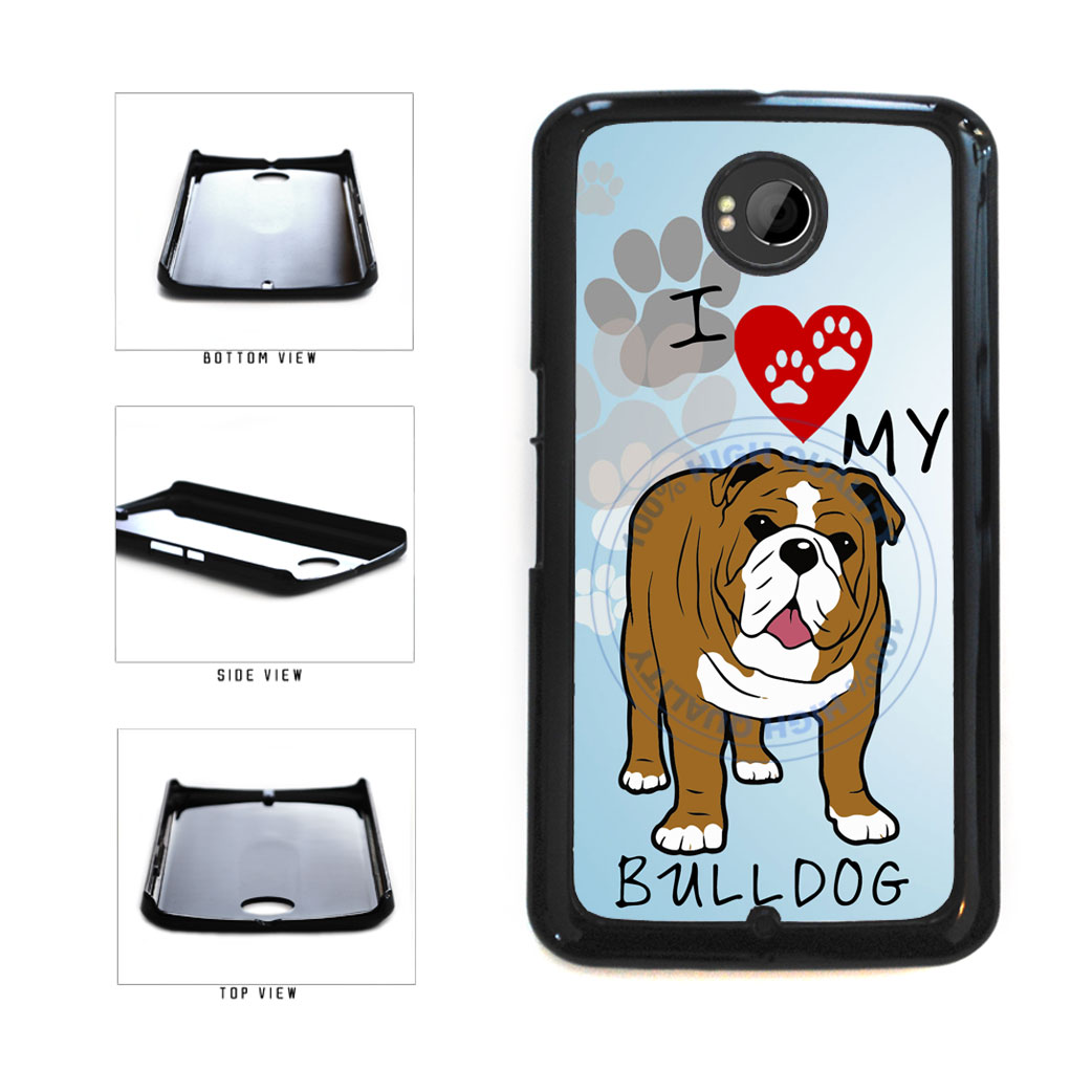 I Love My Bulldog Dog Lover Plastic Phone Case Back Cover For Google Nexus 6 includes BleuReign(TM) Cloth and Warranty Label