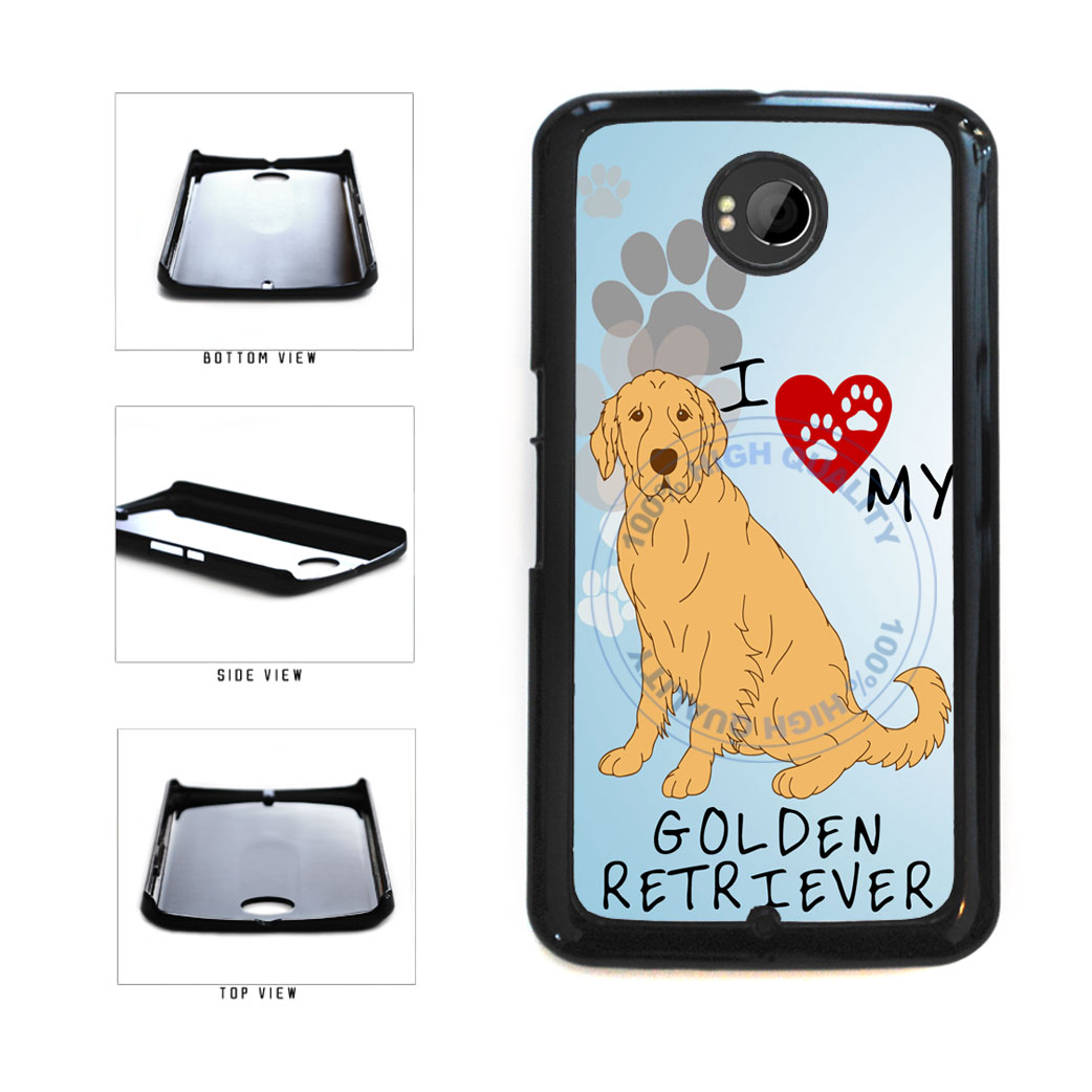 I Love My Golden Retriever Dog Lover Plastic Phone Case Back Cover For Google Nexus 6 includes BleuReign(TM) Cloth and Warranty Label