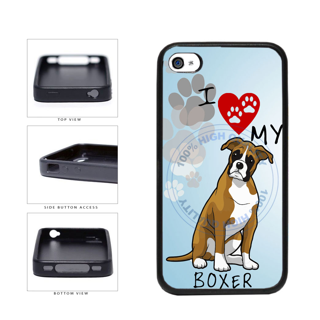 I Love My Boxer Dog Lover TPU Rubber SILICONE Phone Case Back Cover For Apple iPhone 4 4S includes BleuReign(TM) Cloth and Warranty Label