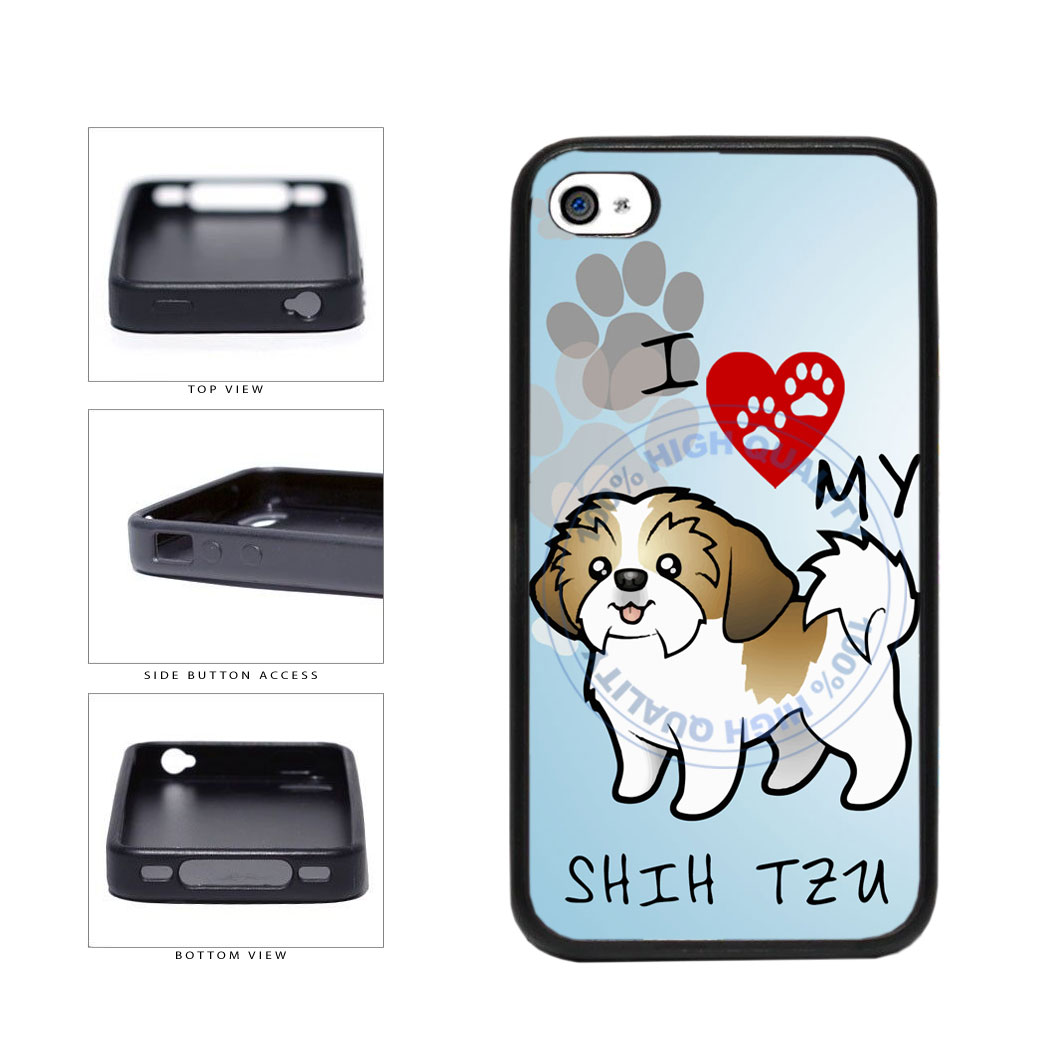 I Love My Shih Tzu Dog Lover TPU Rubber SILICONE Phone Case Back Cover For Apple iPhone 4 4S includes BleuReign(TM) Cloth and Warranty Label