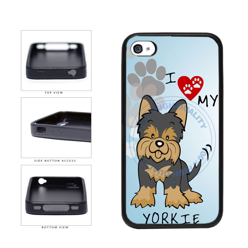 I Love My Yorkie Dog Lover TPU Rubber SILICONE Phone Case Back Cover For Apple iPhone 4 4S includes BleuReign(TM) Cloth and Warranty Label