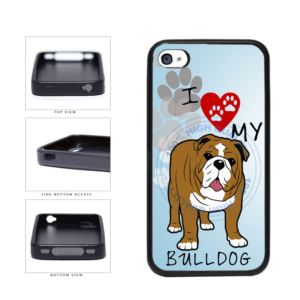 I Love My Bulldog Dog Lover TPU Rubber SILICONE Phone Case Back Cover For Apple iPhone 4 4S includes BleuReign(TM) Cloth and Warranty Label