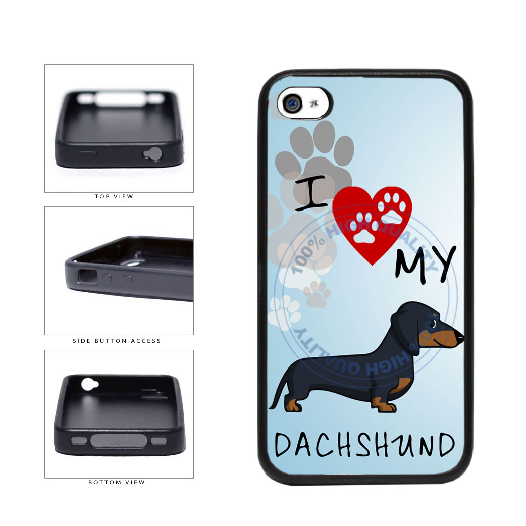 I Love My Dachshund Dog Lover TPU Rubber SILICONE Phone Case Back Cover For Apple iPhone 4 4S includes BleuReign(TM) Cloth and Warranty Label
