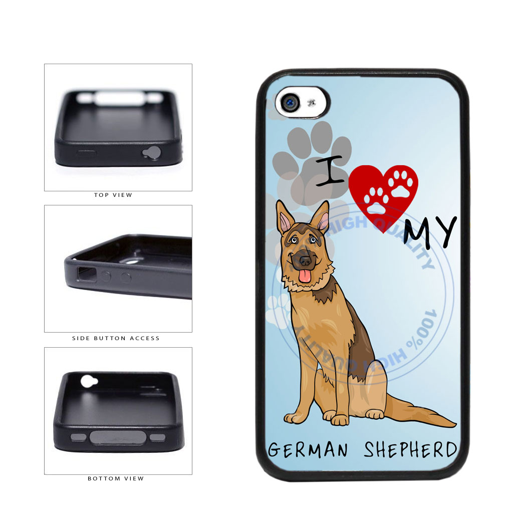 I Love My German Shepherd Dog Lover TPU Rubber SILICONE Phone Case Back Cover For Apple iPhone 4 4S includes BleuReign(TM) Cloth and Warranty Label