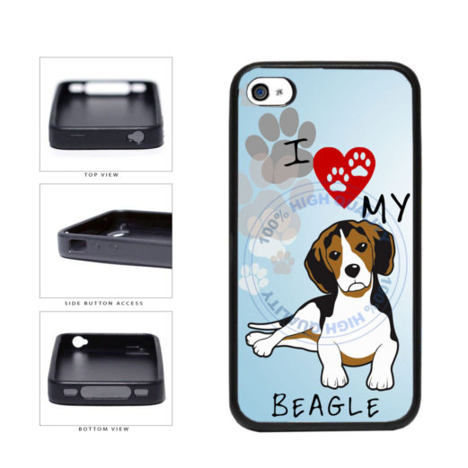 I Love My Beagle Dog Lover TPU Rubber SILICONE Phone Case Back Cover For Apple iPhone 4 4S includes BleuReign(TM) Cloth and Warranty Label