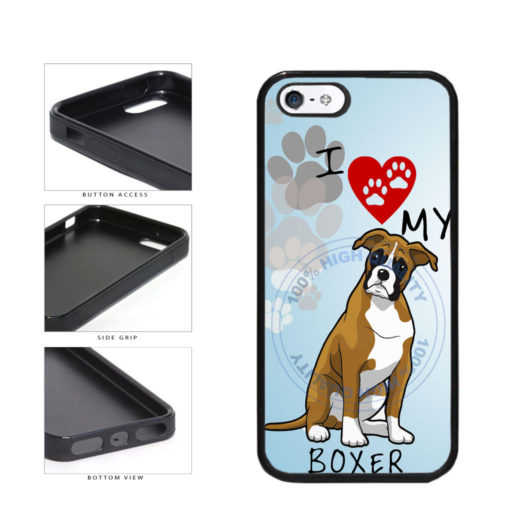 I Love My Boxer Dog Lover TPU Rubber SILICONE Phone Case Back Cover For Apple iPhone 5 5S includes BleuReign(TM) Cloth and Warranty Label
