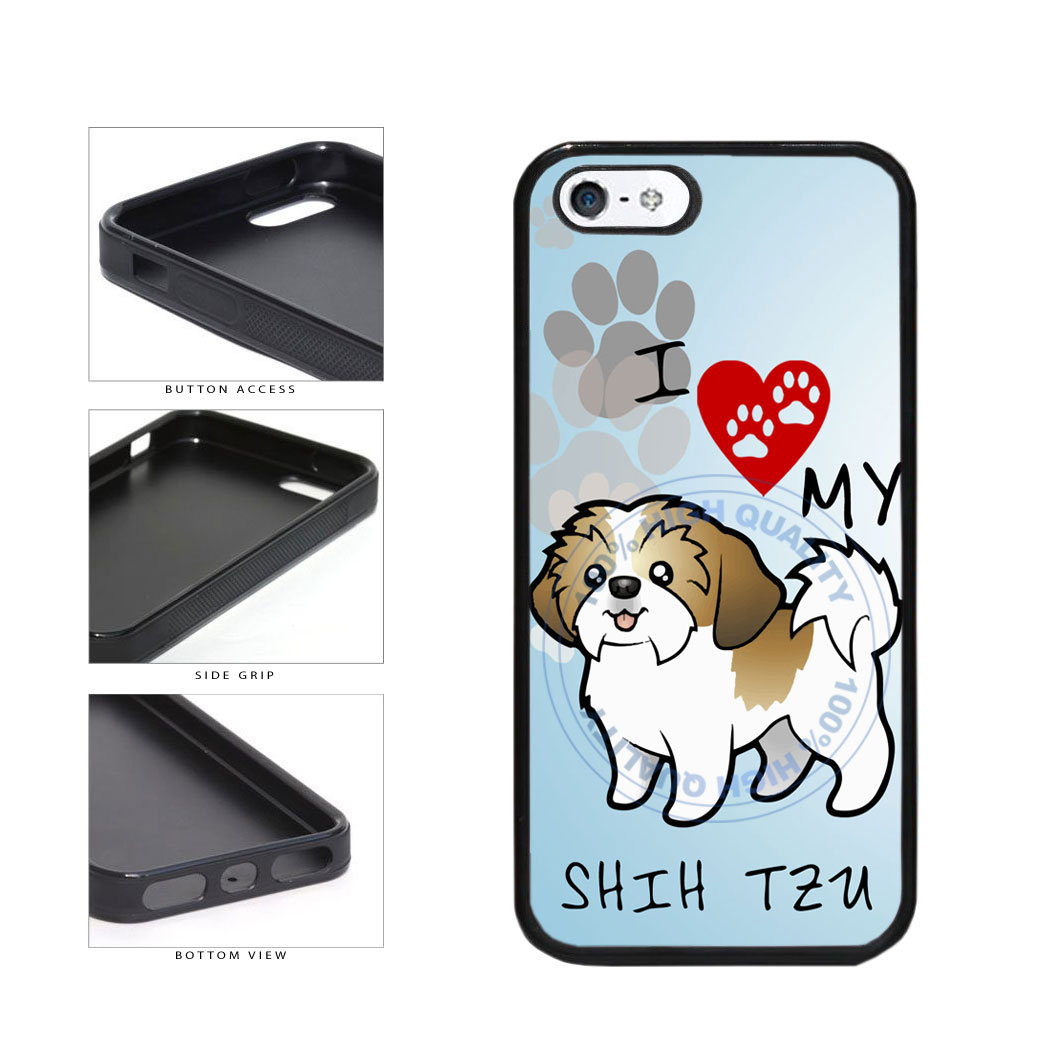 I Love My Shih Tzu Dog Lover TPU Rubber SILICONE Phone Case Back Cover For Apple iPhone 5 5S includes BleuReign(TM) Cloth and Warranty Label