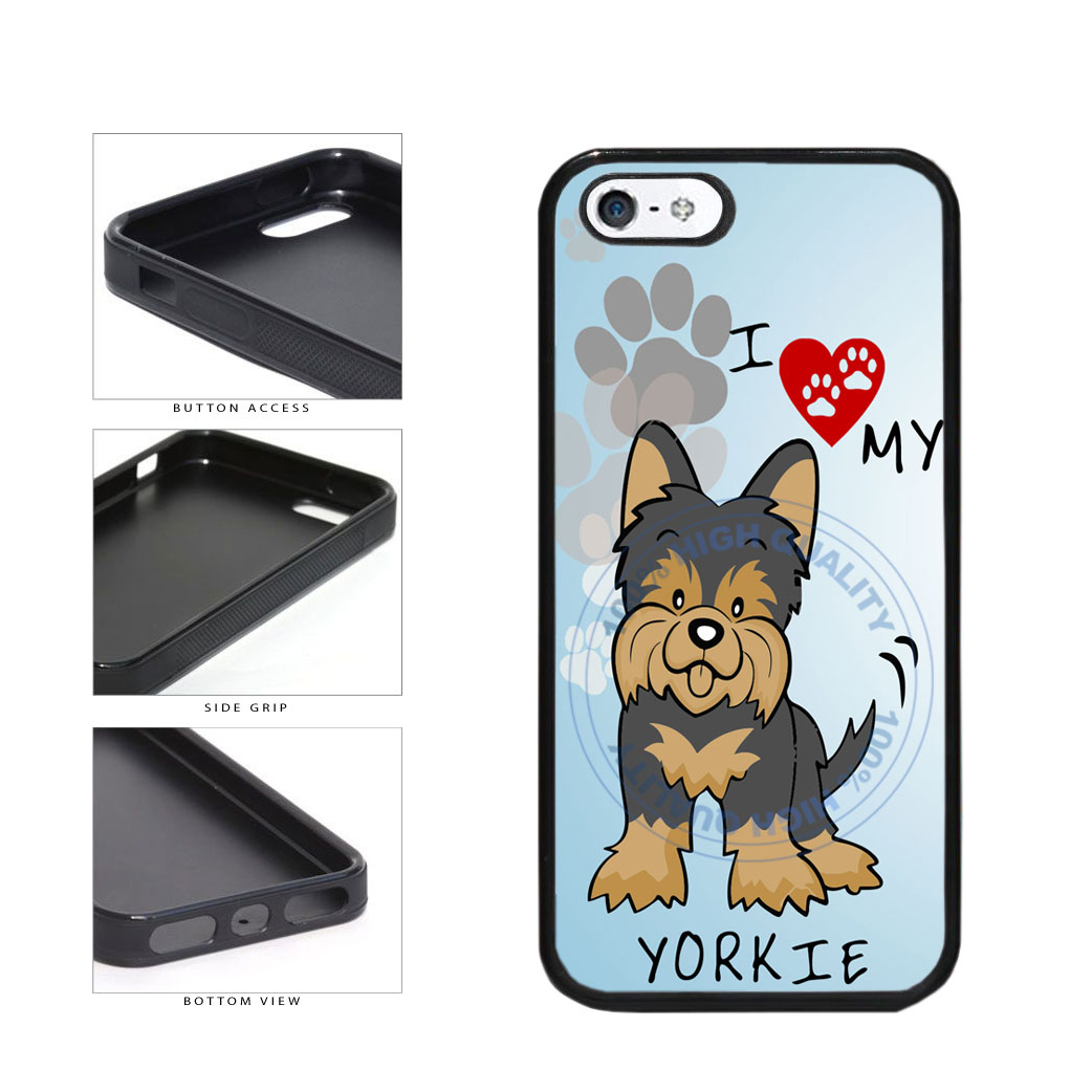 I Love My Yorkie Dog Lover TPU Rubber SILICONE Phone Case Back Cover For Apple iPhone 5 5S includes BleuReign(TM) Cloth and Warranty Label