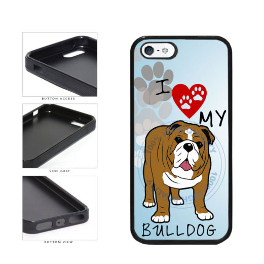 I Love My Bulldog Dog Lover TPU Rubber SILICONE Phone Case Back Cover For Apple iPhone 5 5S includes BleuReign(TM) Cloth and Warranty Label
