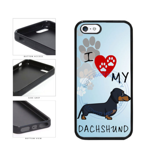 I Love My Dachshund Dog Lover TPU Rubber SILICONE Phone Case Back Cover For Apple iPhone 5 5S includes BleuReign(TM) Cloth and Warranty Label