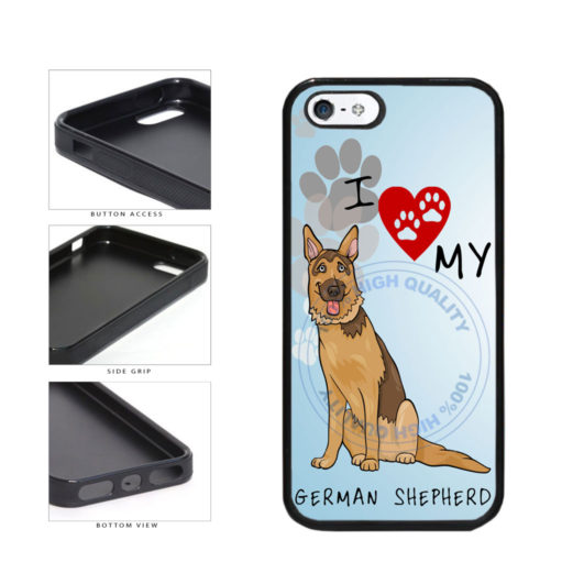 I Love My German Shepherd Dog Lover TPU Rubber SILICONE Phone Case Back Cover For Apple iPhone 5 5S includes BleuReign(TM) Cloth and Warranty Label