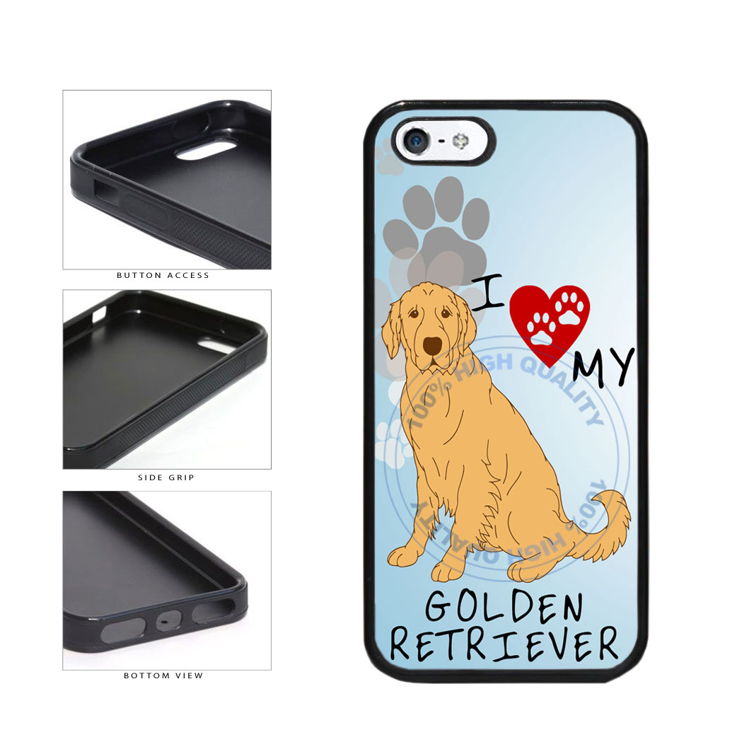 I Love My Golden Retriever Dog Lover TPU Rubber SILICONE Phone Case Back Cover For Apple iPhone 5 5S includes BleuReign(TM) Cloth and Warranty Label