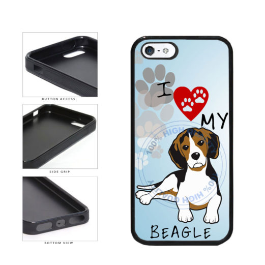 I Love My Beagle Dog Lover TPU Rubber SILICONE Phone Case Back Cover For Apple iPhone 5 5S includes BleuReign(TM) Cloth and Warranty Label