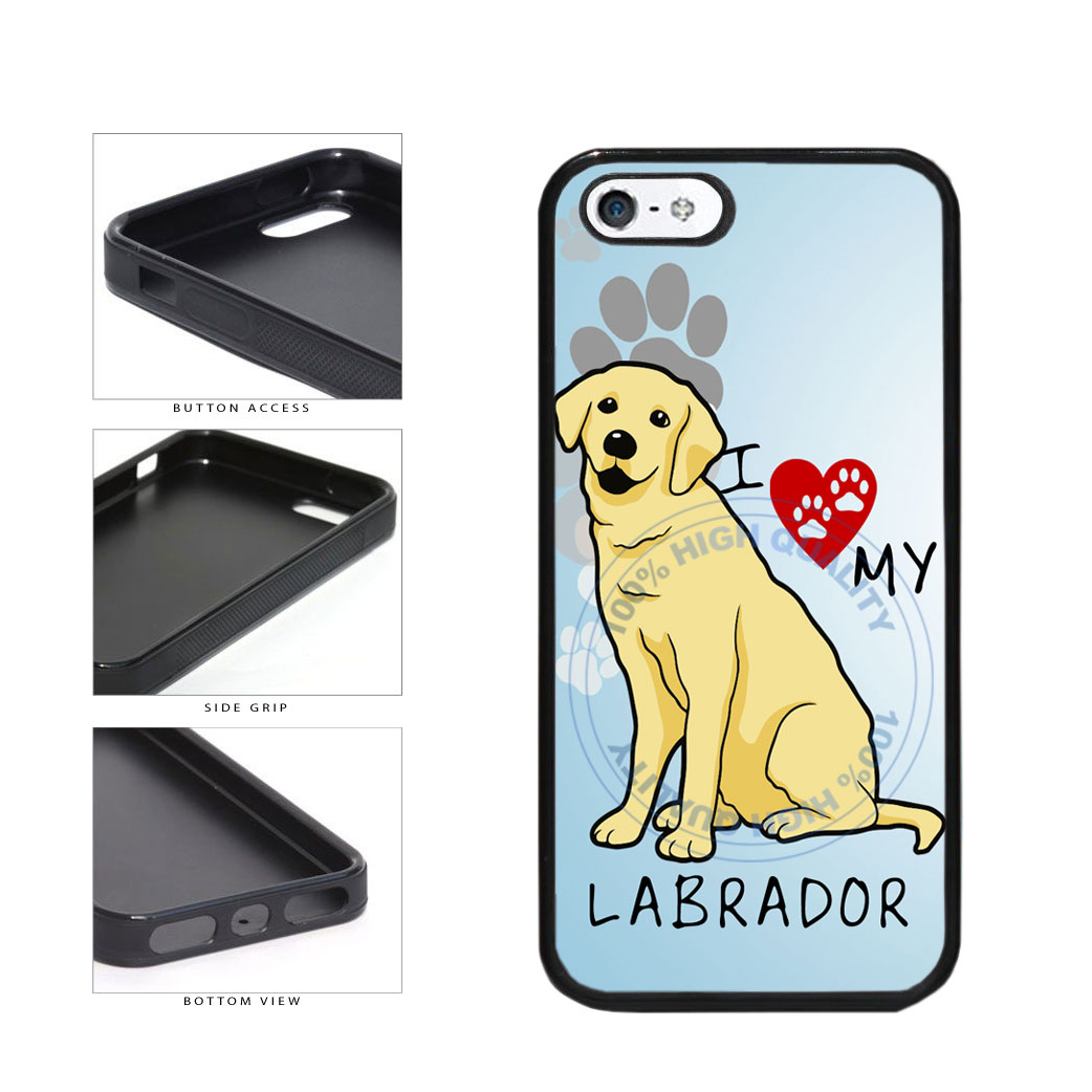 I Love My Labrador Dog Lover TPU Rubber SILICONE Phone Case Back Cover For Apple iPhone 5 5S includes BleuReign(TM) Cloth and Warranty Label