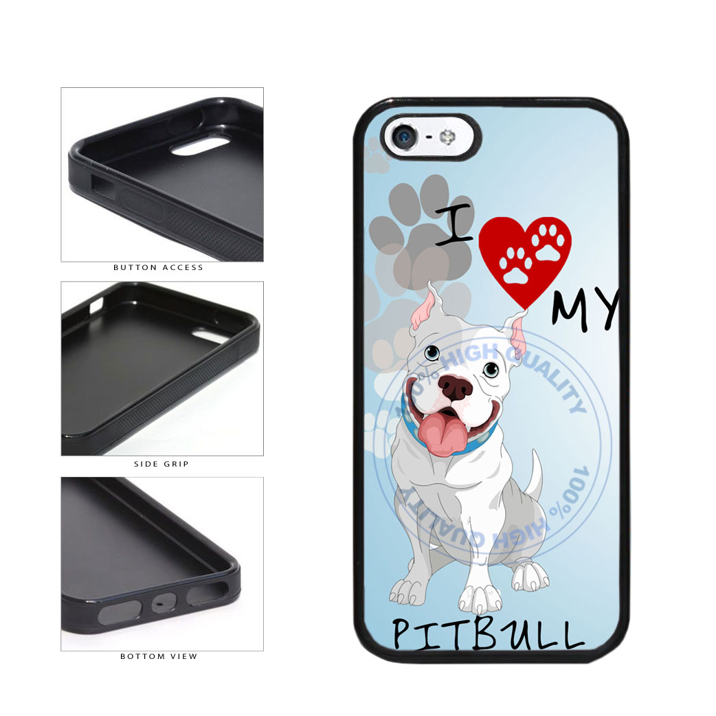 I Love My Pittbull Dog Lover TPU Rubber SILICONE Phone Case Back Cover For Apple iPhone 5 5S includes BleuReign(TM) Cloth and Warranty Label