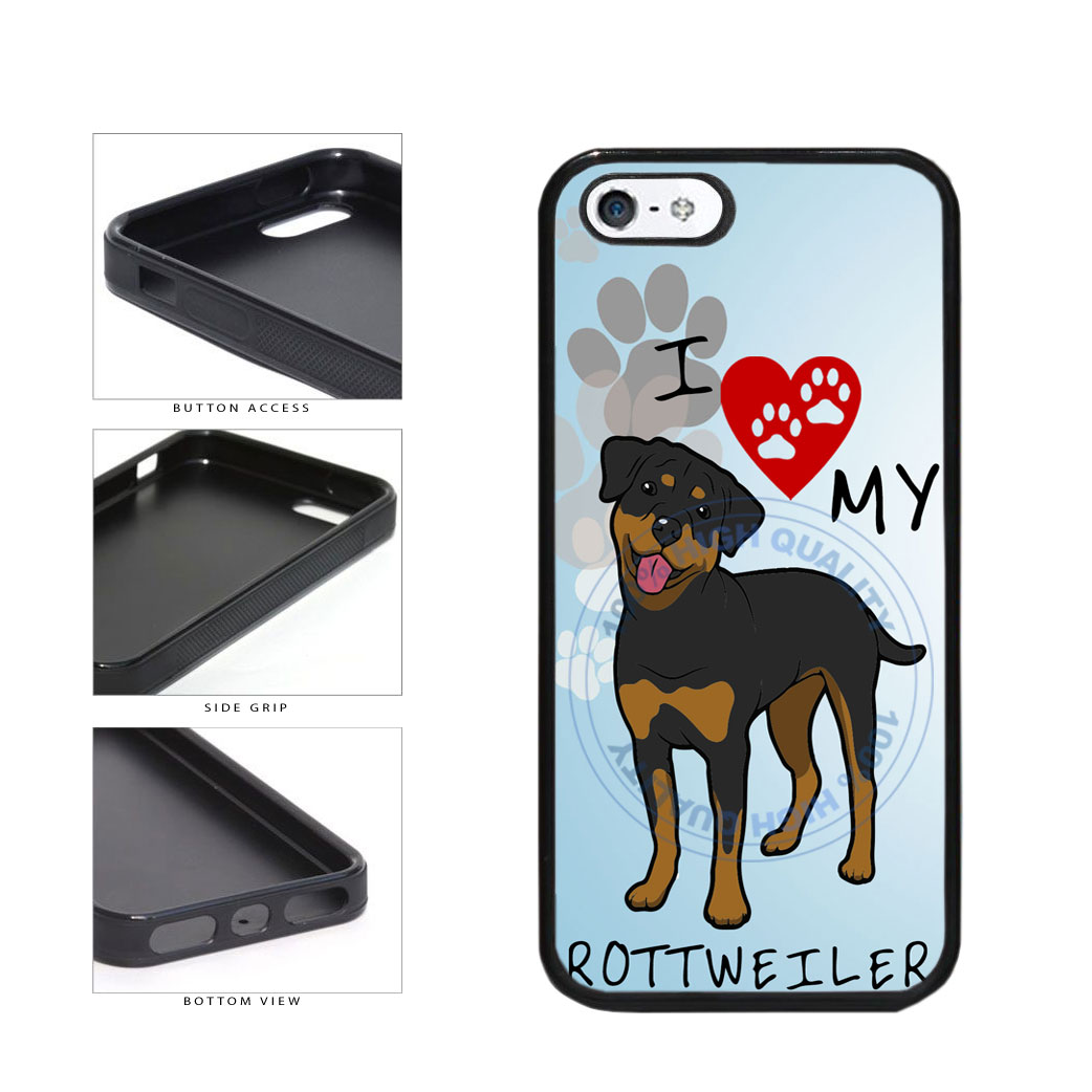 I Love My Rottweiler Dog Lover TPU Rubber SILICONE Phone Case Back Cover For Apple iPhone 5 5S includes BleuReign(TM) Cloth and Warranty Label