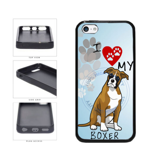 I Love My Boxer Dog Lover TPU Rubber SILICONE Phone Case Back Cover For Apple iPhone 5c includes BleuReign(TM) Cloth and Warranty Label