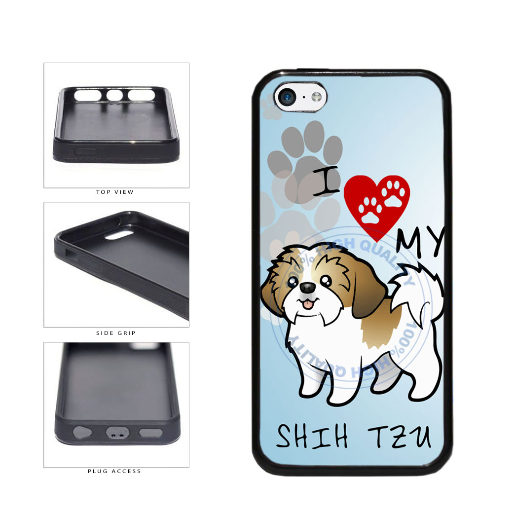 I Love My Shih Tzu Dog Lover TPU Rubber SILICONE Phone Case Back Cover For Apple iPhone 5c includes BleuReign(TM) Cloth and Warranty Label