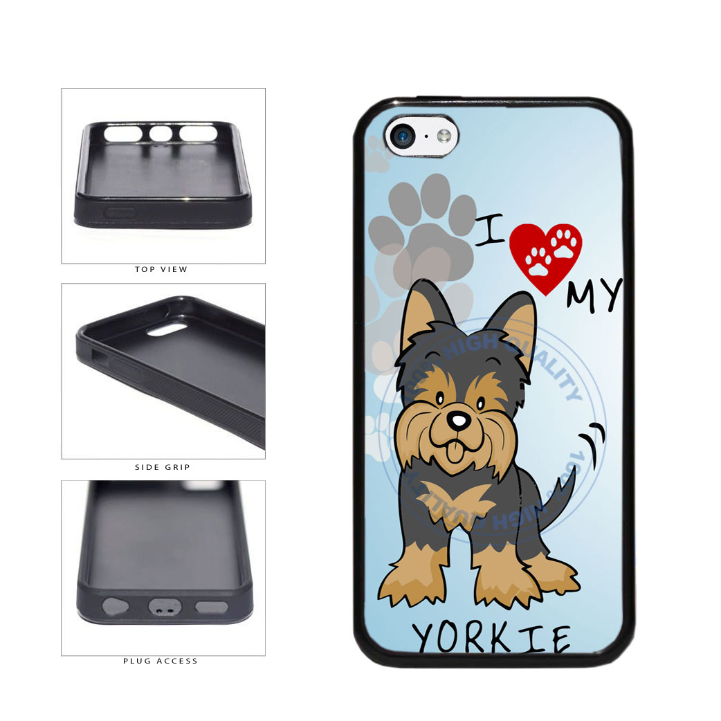 I Love My Yorkie Dog Lover TPU Rubber SILICONE Phone Case Back Cover For Apple iPhone 5c includes BleuReign(TM) Cloth and Warranty Label