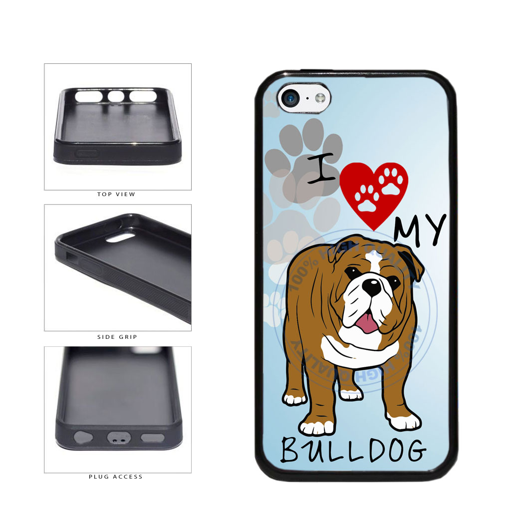 I Love My Bulldog Dog Lover TPU Rubber SILICONE Phone Case Back Cover For Apple iPhone 5c includes BleuReign(TM) Cloth and Warranty Label