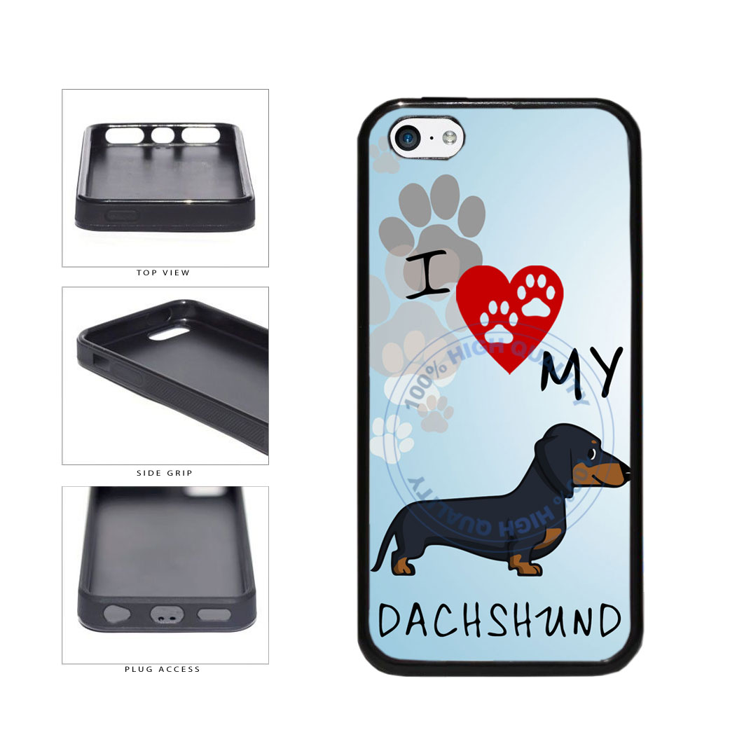 I Love My Dachshund Dog Lover TPU Rubber SILICONE Phone Case Back Cover For Apple iPhone 5c includes BleuReign(TM) Cloth and Warranty Label