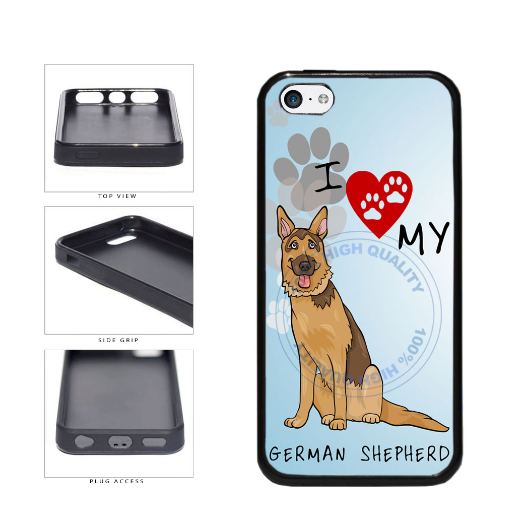 I Love My German Shepherd Dog Lover TPU Rubber SILICONE Phone Case Back Cover For Apple iPhone 5c includes BleuReign(TM) Cloth and Warranty Label