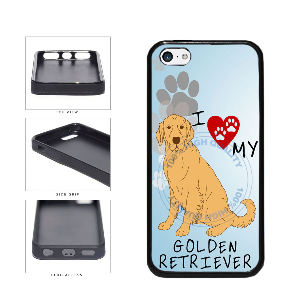 I Love My Golden Retriever Dog Lover TPU Rubber SILICONE Phone Case Back Cover For Apple iPhone 5c includes BleuReign(TM) Cloth and Warranty Label