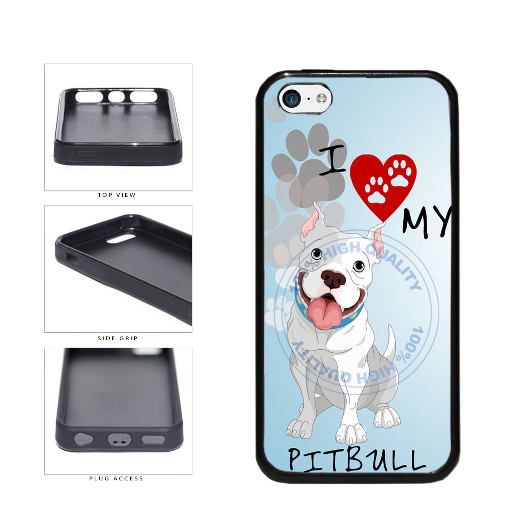 I Love My Pittbull Dog Lover TPU Rubber SILICONE Phone Case Back Cover For Apple iPhone 5c includes BleuReign(TM) Cloth and Warranty Label