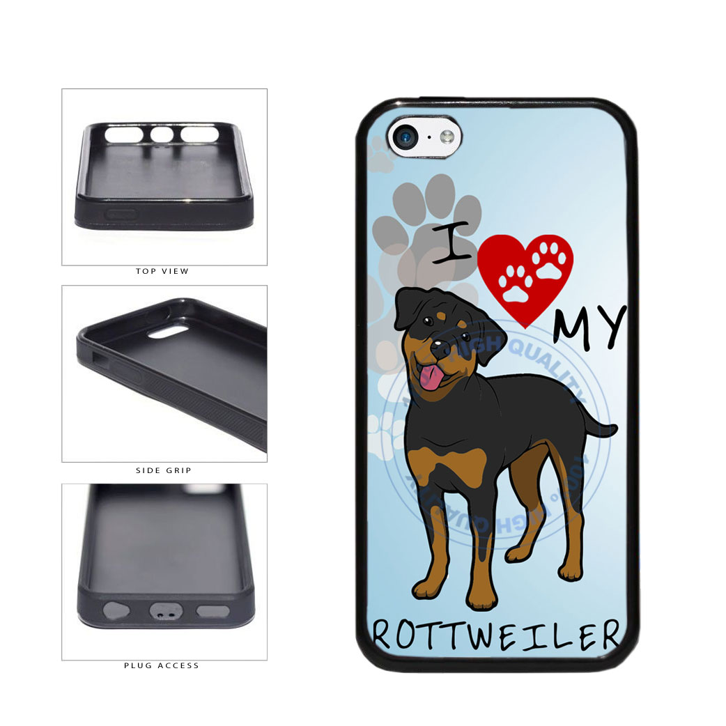 I Love My Rottweiler Dog Lover TPU Rubber SILICONE Phone Case Back Cover For Apple iPhone 5c includes BleuReign(TM) Cloth and Warranty Label