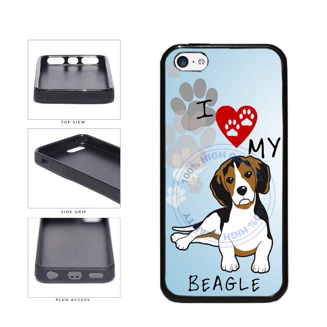 I Love My Beagle Dog Lover TPU Rubber SILICONE Phone Case Back Cover For Apple iPhone 5c includes BleuReign(TM) Cloth and Warranty Label