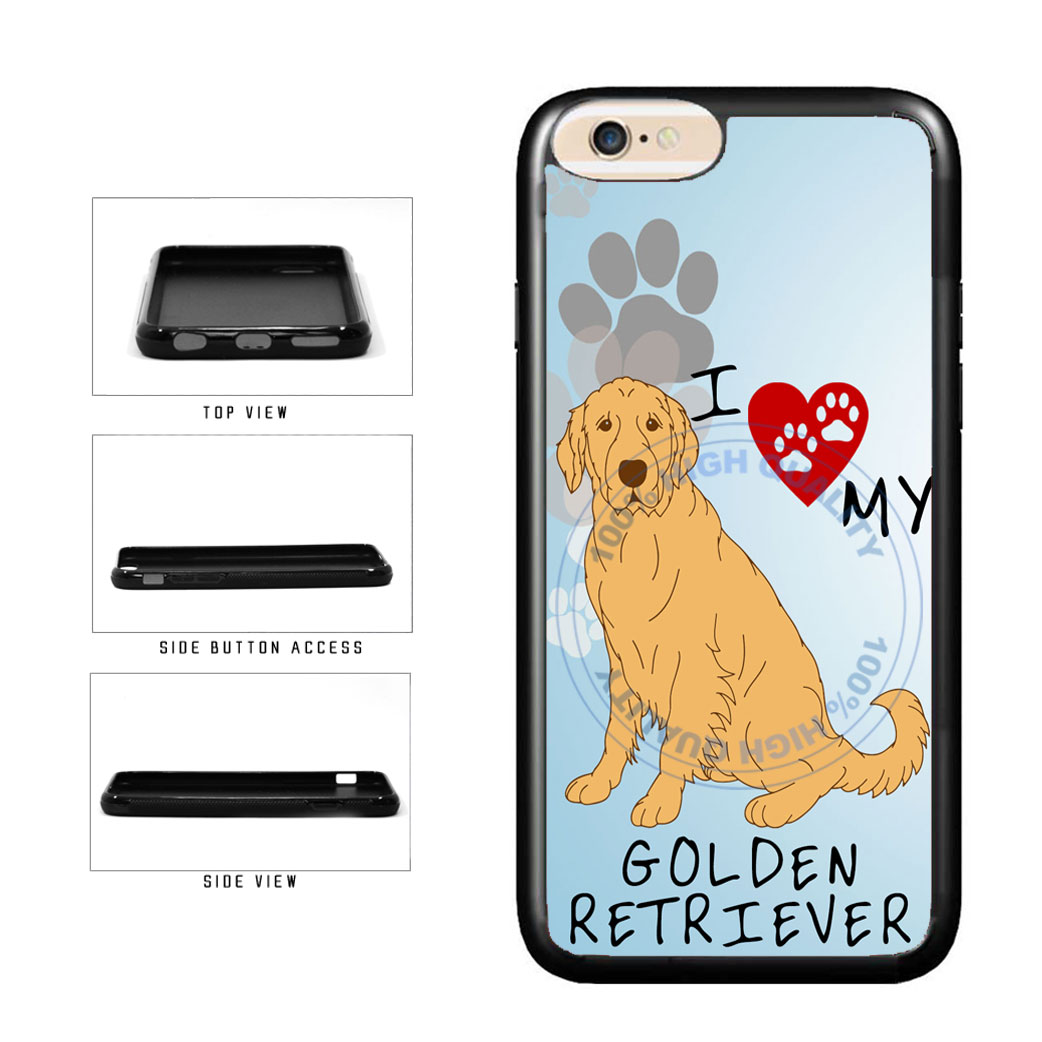 I Love My Golden Retriever Dog Lover TPU Rubber SILICONE Phone Case Back Cover For Apple iPhone 6 Plus 6s Plus (5.5 Inches Screen) includes BleuReign(TM) Cloth and Warranty Label