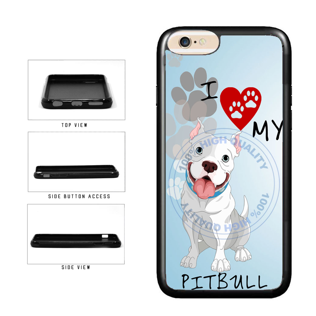 I Love My Pittbull Dog Lover TPU Rubber SILICONE Phone Case Back Cover For Apple iPhone 6 Plus 6s Plus (5.5 Inches Screen) includes BleuReign(TM) Cloth and Warranty Label