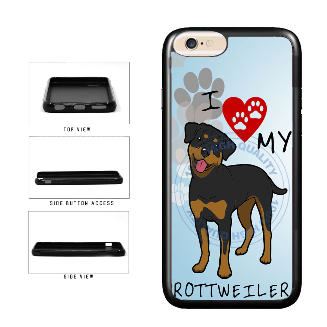 I Love My Rottweiler Dog Lover TPU Rubber SILICONE Phone Case Back Cover For Apple iPhone 6 6s (4.7 Inches Screen) includes BleuReign(TM) Cloth and Warranty Label