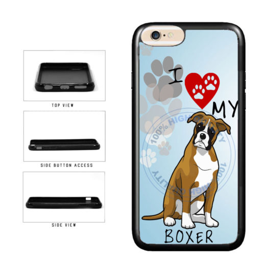 I Love My Boxer Dog Lover TPU Rubber SILICONE Phone Case Back Cover For Apple iPhone 6 6s (4.7 Inches Screen) includes BleuReign(TM) Cloth and Warranty Label