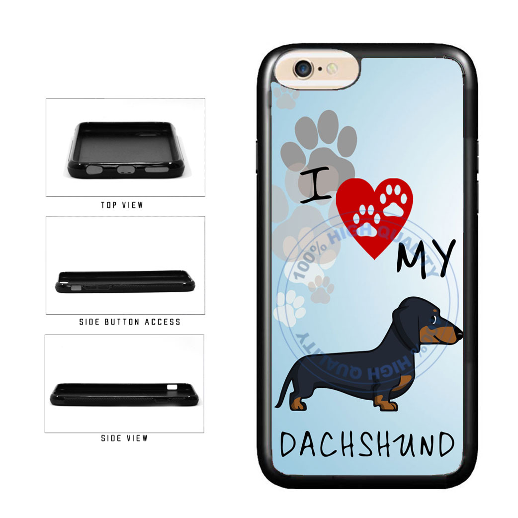 I Love My Dachshund Dog Lover TPU Rubber SILICONE Phone Case Back Cover For Apple iPhone 6 Plus 6s Plus (5.5 Inches Screen) includes BleuReign(TM) Cloth and Warranty Label