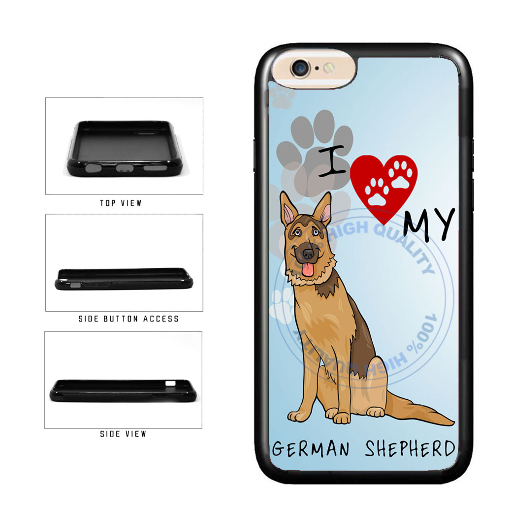 I Love My German Shepherd Dog Lover TPU Rubber SILICONE Phone Case Back Cover For Apple iPhone 6 6s (4.7 Inches Screen) includes BleuReign(TM) Cloth and Warranty Label
