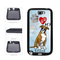 I Love My Boxer Dog Lover TPU Rubber SILICONE Phone Case Back Cover For Samsung Galaxy Note II 2 N7100 includes BleuReign(TM) Cloth and Warranty Label
