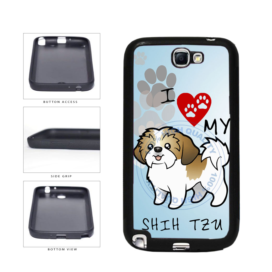 I Love My Shih Tzu Dog Lover TPU Rubber SILICONE Phone Case Back Cover For Samsung Galaxy Note II 2 N7100 includes BleuReign(TM) Cloth and Warranty Label