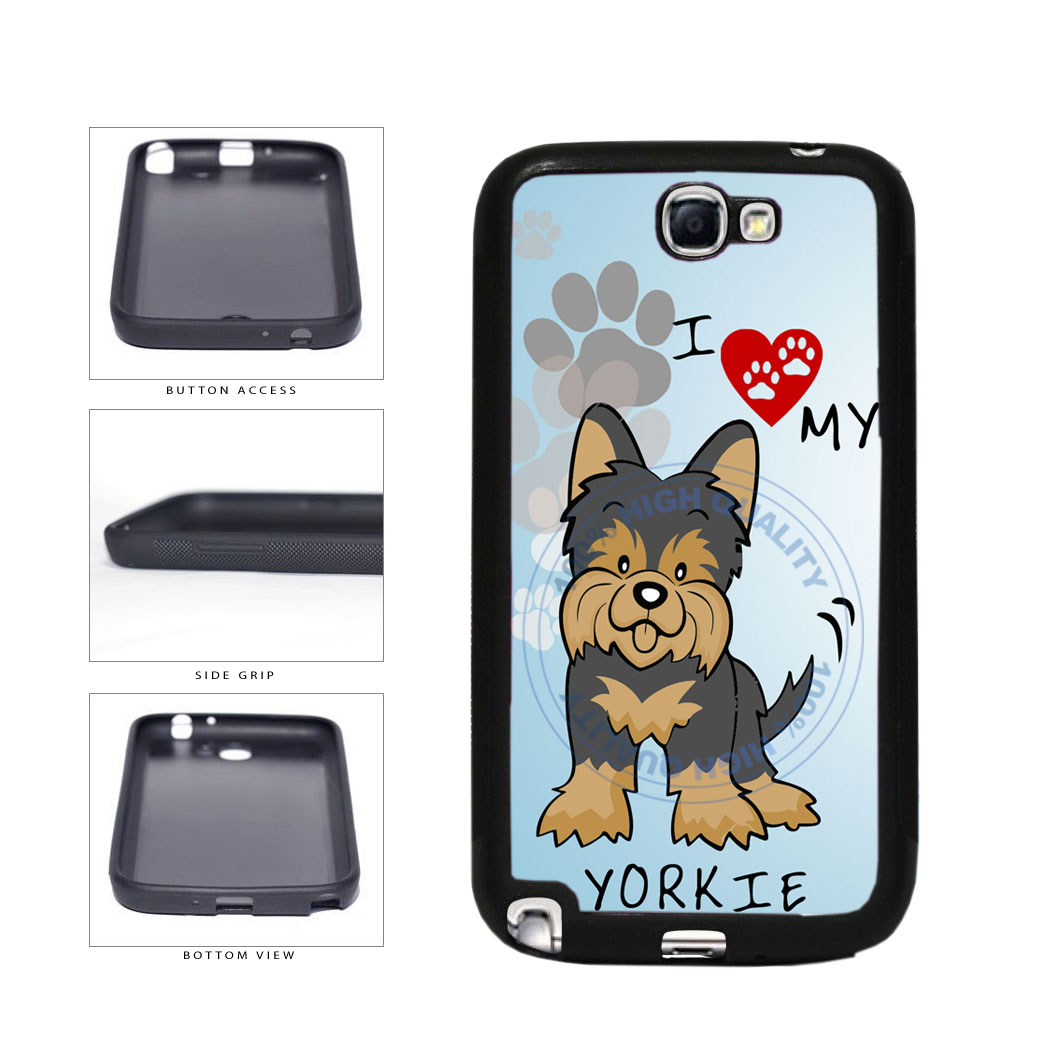 I Love My Yorkie Dog Lover TPU Rubber SILICONE Phone Case Back Cover For Samsung Galaxy Note II 2 N7100 includes BleuReign(TM) Cloth and Warranty Label