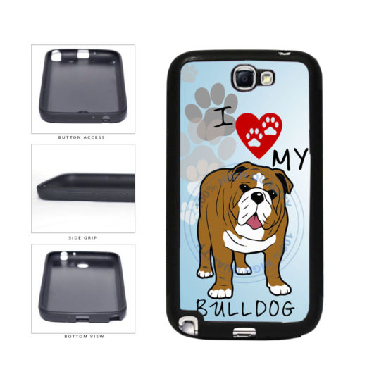 I Love My Bulldog Dog Lover TPU Rubber SILICONE Phone Case Back Cover For Samsung Galaxy Note II 2 N7100 includes BleuReign(TM) Cloth and Warranty Label