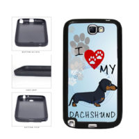 I Love My Dachshund Dog Lover TPU Rubber SILICONE Phone Case Back Cover For Samsung Galaxy Note II 2 N7100 includes BleuReign(TM) Cloth and Warranty Label