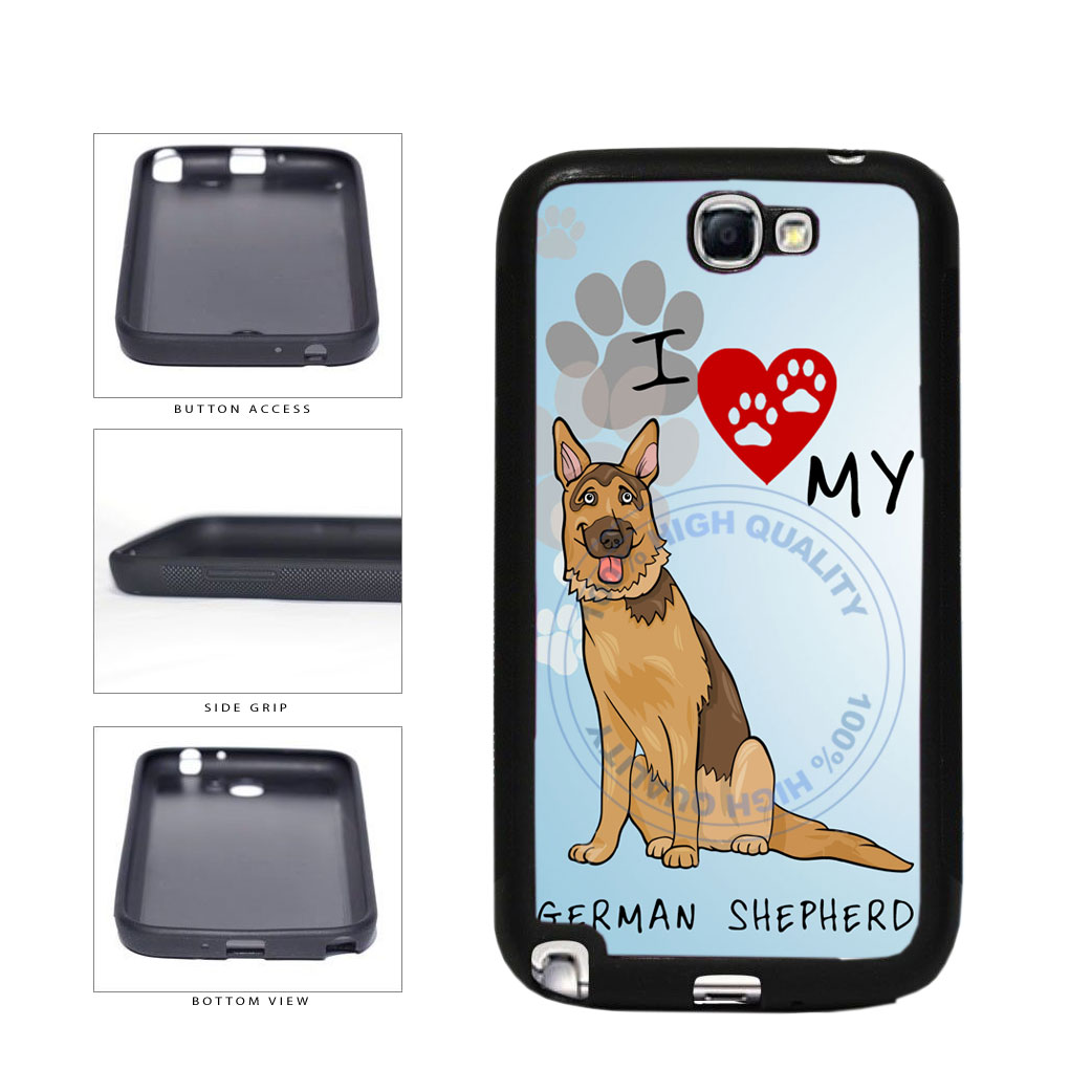 I Love My German Shepherd Dog Lover TPU Rubber SILICONE Phone Case Back Cover For Samsung Galaxy Note II 2 N7100 includes BleuReign(TM) Cloth and Warranty Label