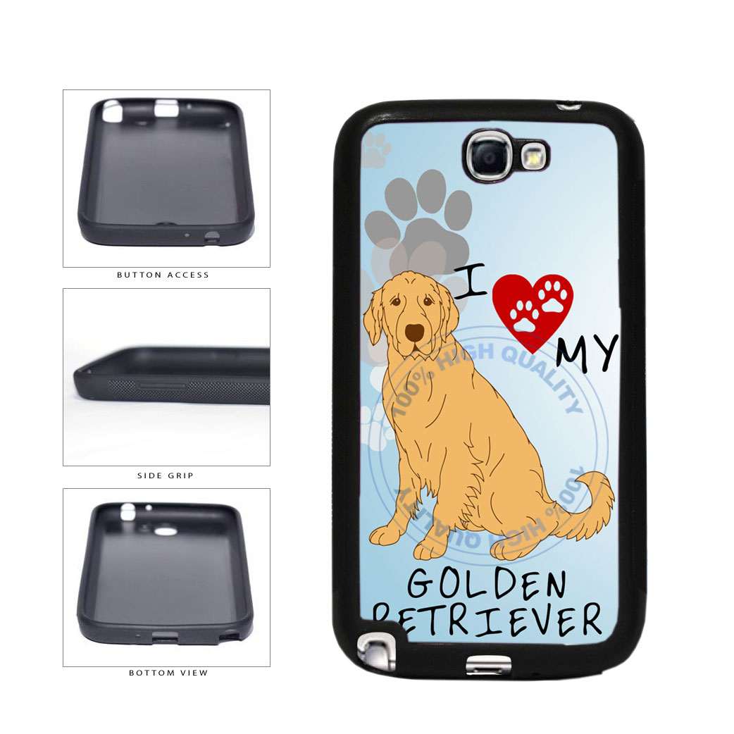 I Love My Golden Retriever Dog Lover TPU Rubber SILICONE Phone Case Back Cover For Samsung Galaxy Note II 2 N7100 includes BleuReign(TM) Cloth and Warranty Label