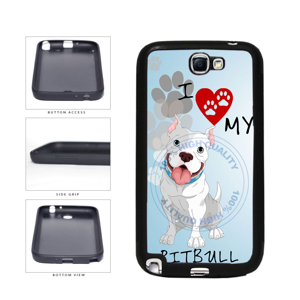 I Love My Pittbull Dog Lover TPU Rubber SILICONE Phone Case Back Cover For Samsung Galaxy Note II 2 N7100 includes BleuReign(TM) Cloth and Warranty Label