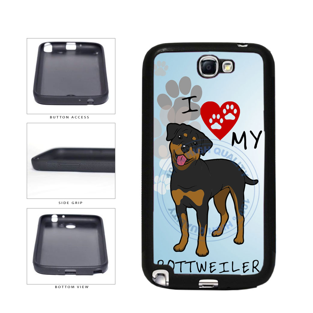I Love My Rottweiler Dog Lover TPU Rubber SILICONE Phone Case Back Cover For Samsung Galaxy Note II 2 N7100 includes BleuReign(TM) Cloth and Warranty Label