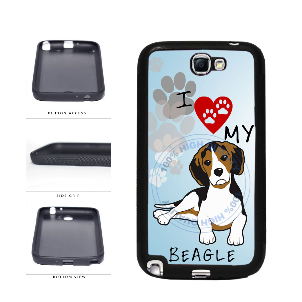 I Love My Beagle Dog Lover TPU Rubber SILICONE Phone Case Back Cover For Samsung Galaxy Note II 2 N7100 includes BleuReign(TM) Cloth and Warranty Label