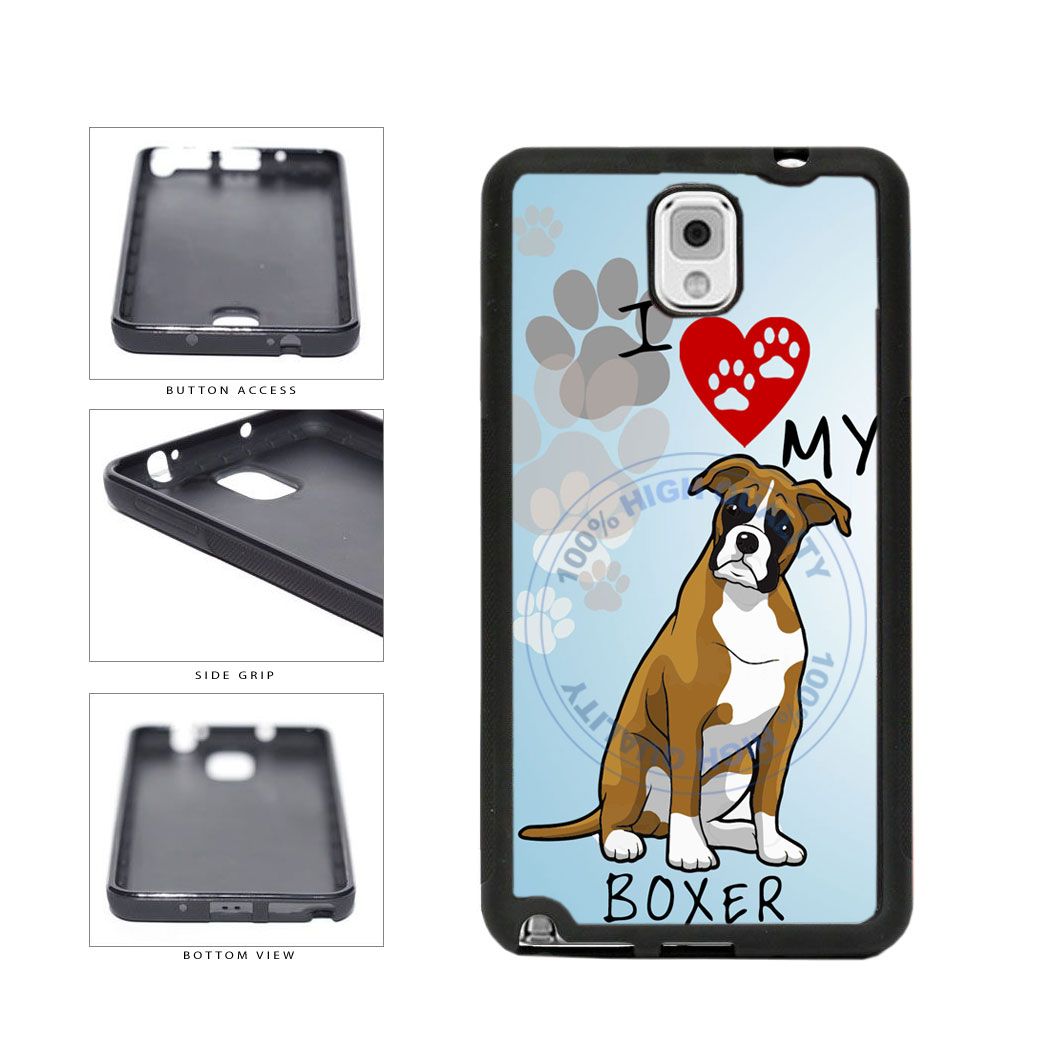 I Love My Boxer Dog Lover TPU Rubber SILICONE Phone Case Back Cover For Samsung Galaxy Note III 3 N9002 includes BleuReign(TM) Cloth and Warranty Label