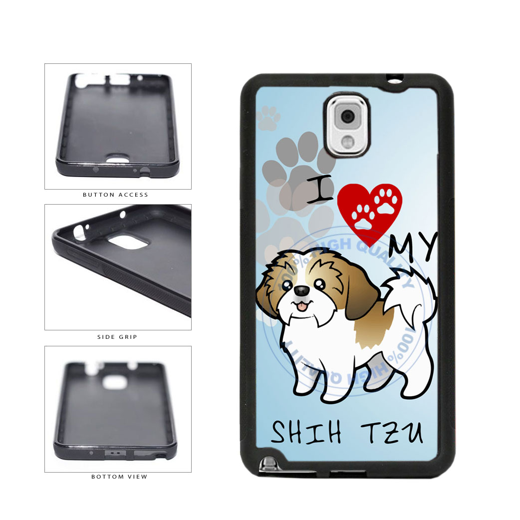 I Love My Shih Tzu Dog Lover TPU Rubber SILICONE Phone Case Back Cover For Samsung Galaxy Note III 3 N9002 includes BleuReign(TM) Cloth and Warranty Label