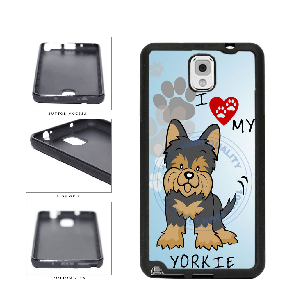 I Love My Yorkie Dog Lover TPU Rubber SILICONE Phone Case Back Cover For Samsung Galaxy Note III 3 N9002 includes BleuReign(TM) Cloth and Warranty Label