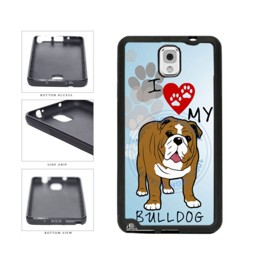 I Love My Bulldog Dog Lover TPU Rubber SILICONE Phone Case Back Cover For Samsung Galaxy Note III 3 N9002 includes BleuReign(TM) Cloth and Warranty Label